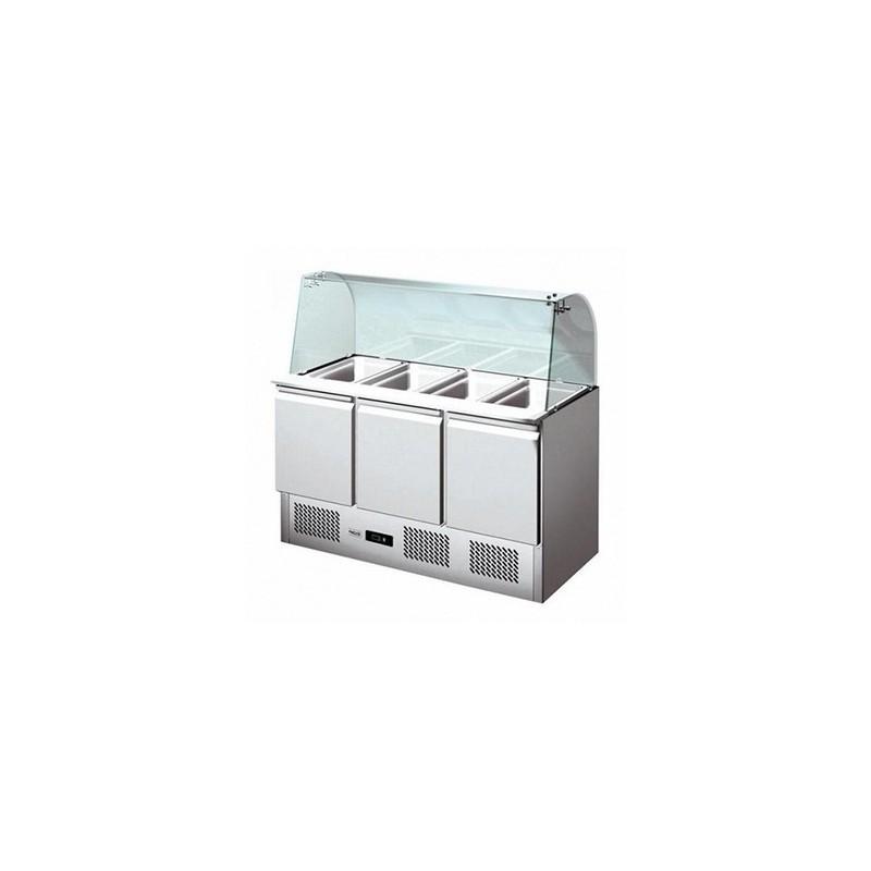 CHR AVENUE - Saladette réfrigérée 3 portes + pare haleine, cap : 4 GN 1/1