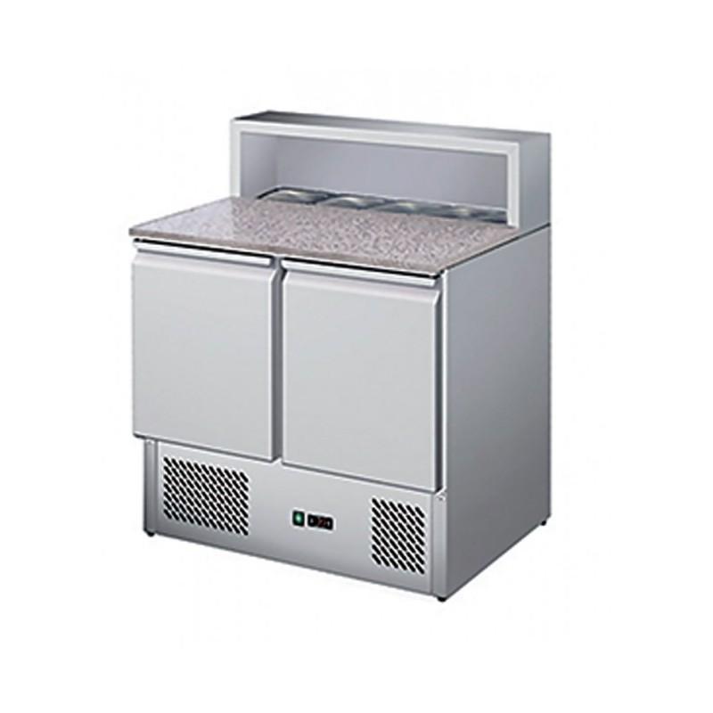 CHR-AVENUE - Table réfrigérée à pizzas : 2 portes GN 1/1 - Capacité 5 GN 1/6