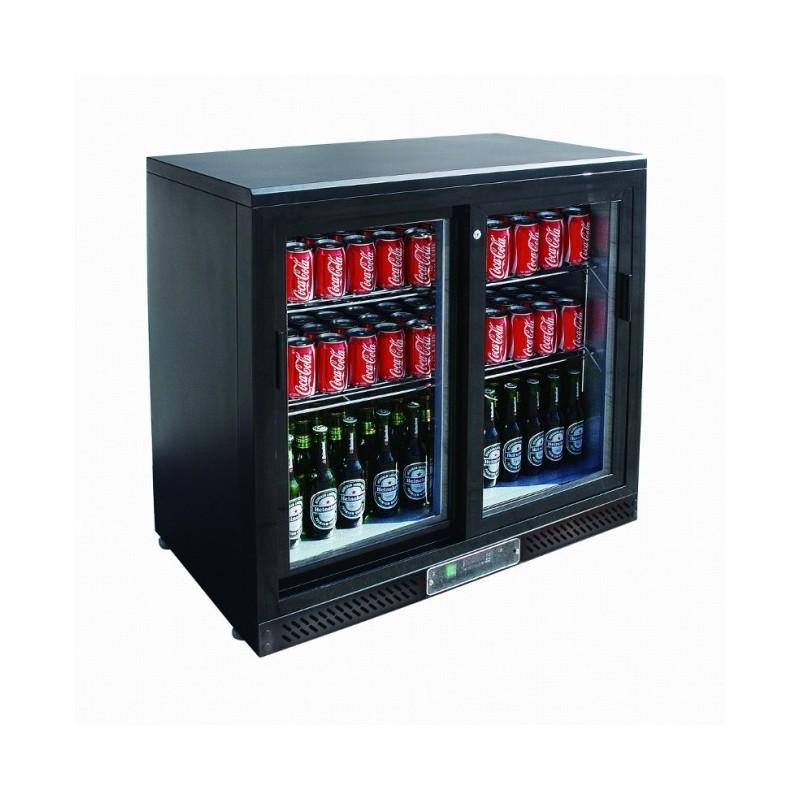 CHR-AVENUE - Arrière bar réfrigéré noir 223 L, 2 portes vitrées coulissantes