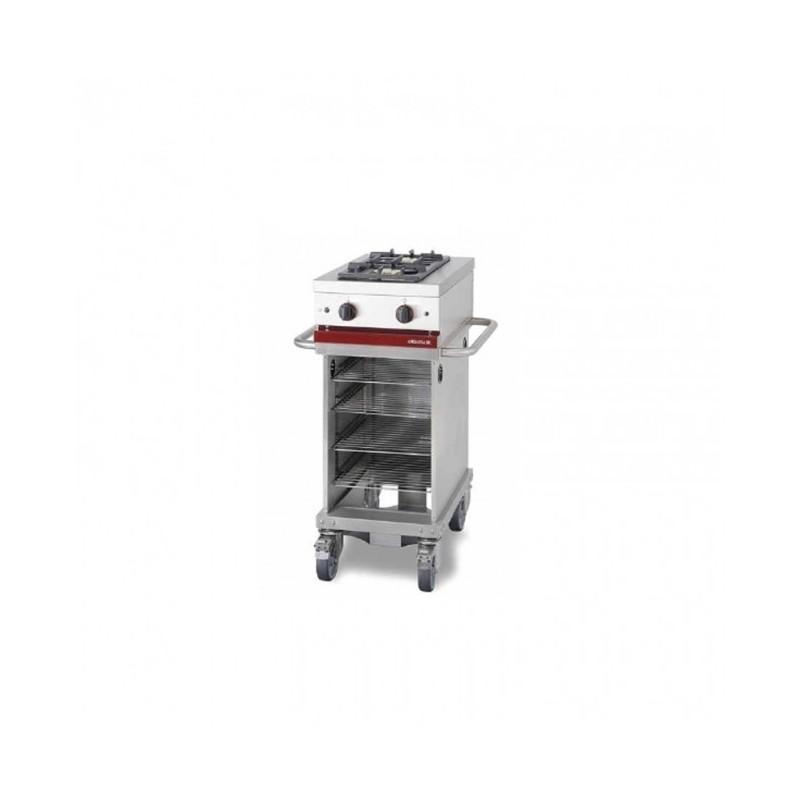 Table de cuisson gaz 2 feux vifs sur roulettes