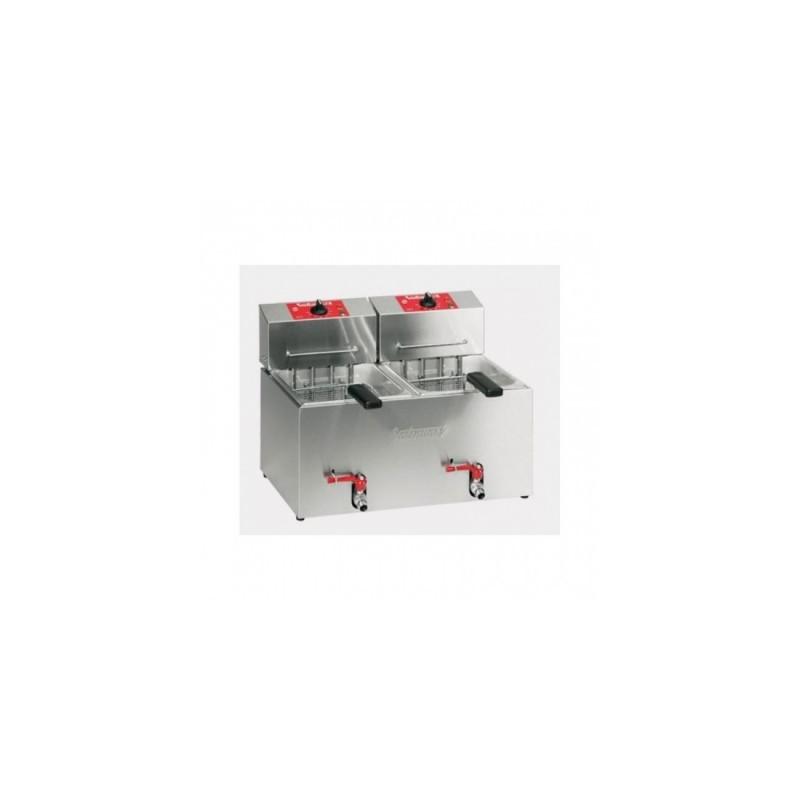 VALENTINE - Friteuse de table 2x 7 L professionnelle - 2x 3.6 kW - avec robinet