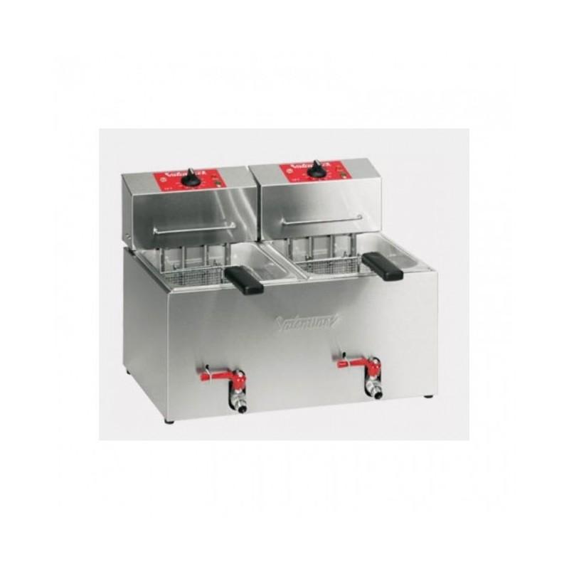 VALENTINE - Friteuse de table 2x 7 L professionnelle - 2x 4.6 kW - avec robinet