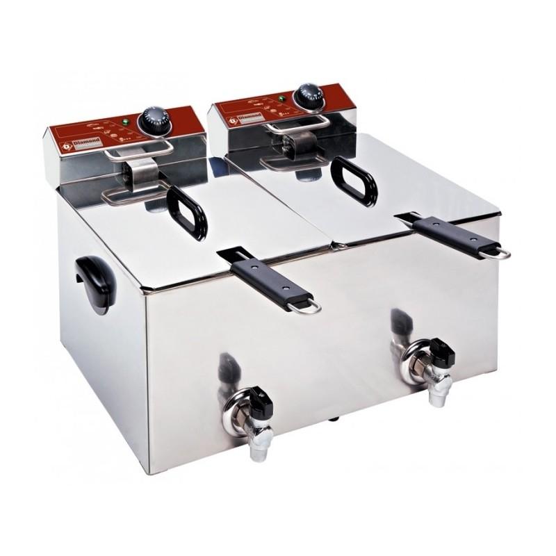 DIAMOND - Friteuse de table 2x8 L professionnelle - AVEC robinet