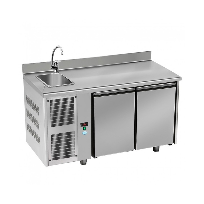 DAP - Table réfrigérée 2 portes - GN1/1 - évier et groupe à gauche
