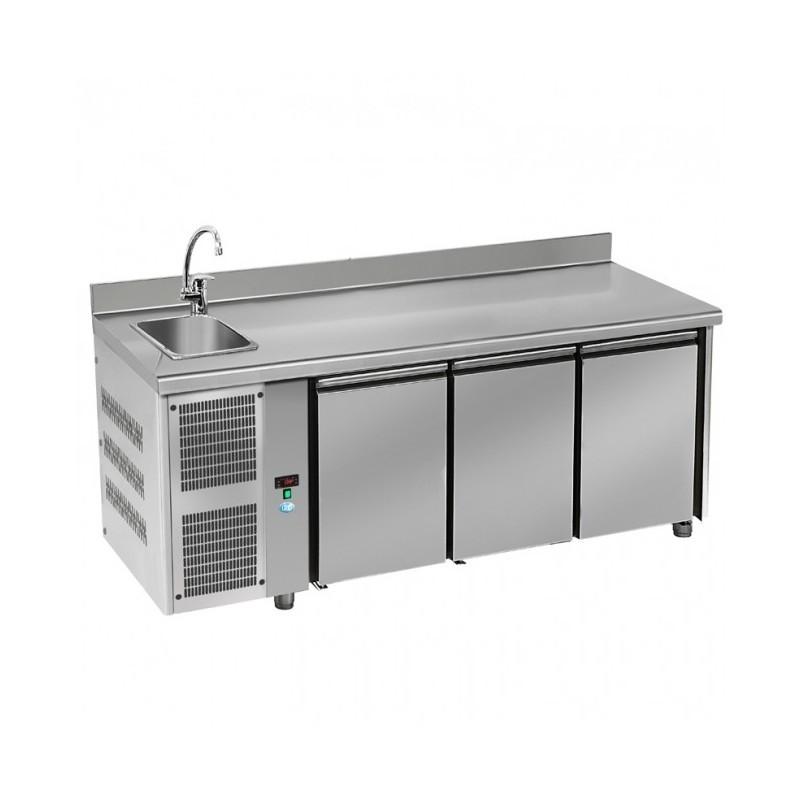 DAP - Table réfrigérée 3 portes GN1/1 évier - groupe à gauche