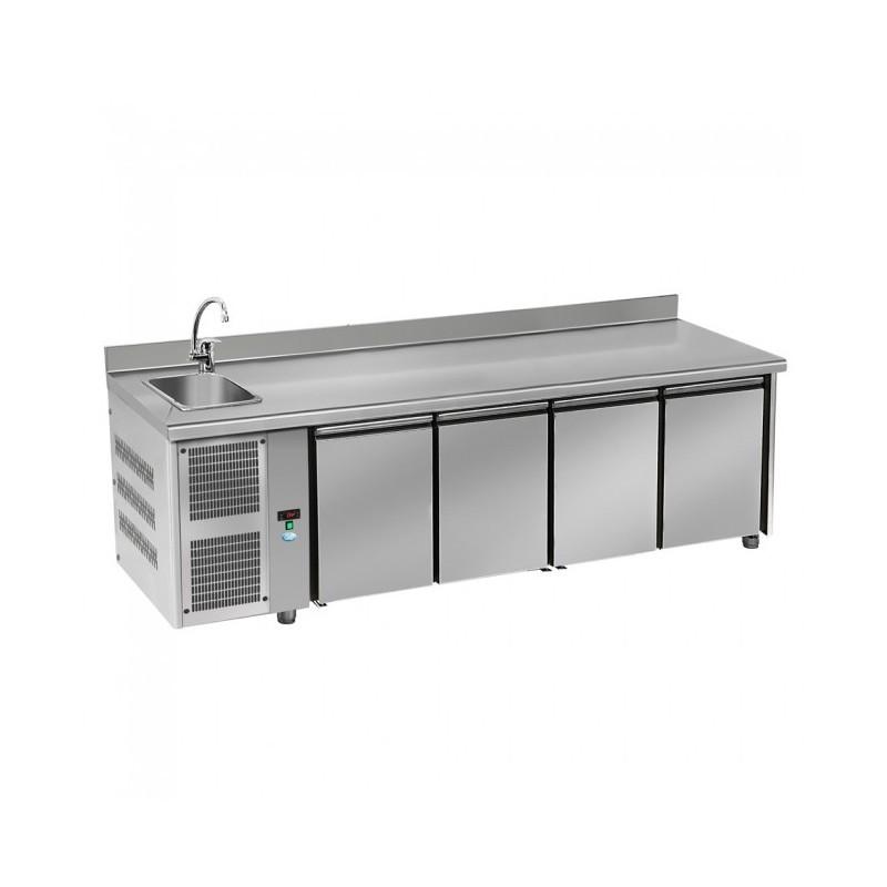 DAP - Table réfrigérée 4p GN1/1 évier - groupe à gauche