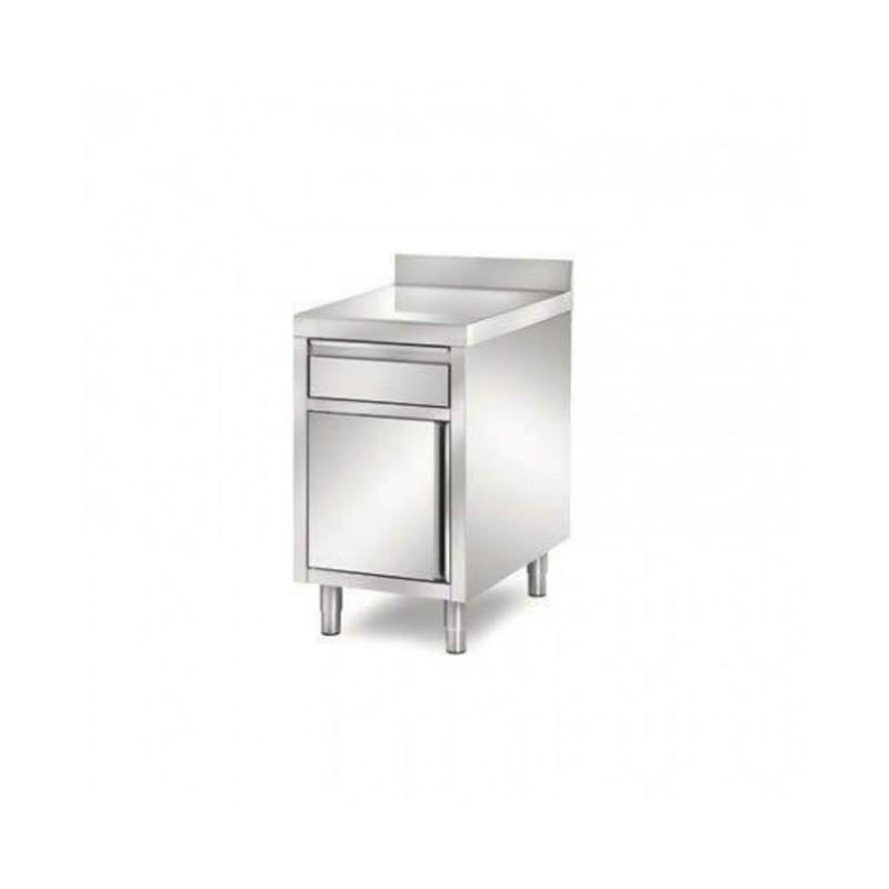 L2G - Meuble 1 tiroir + 1 porte inox Largeur : 500 mm