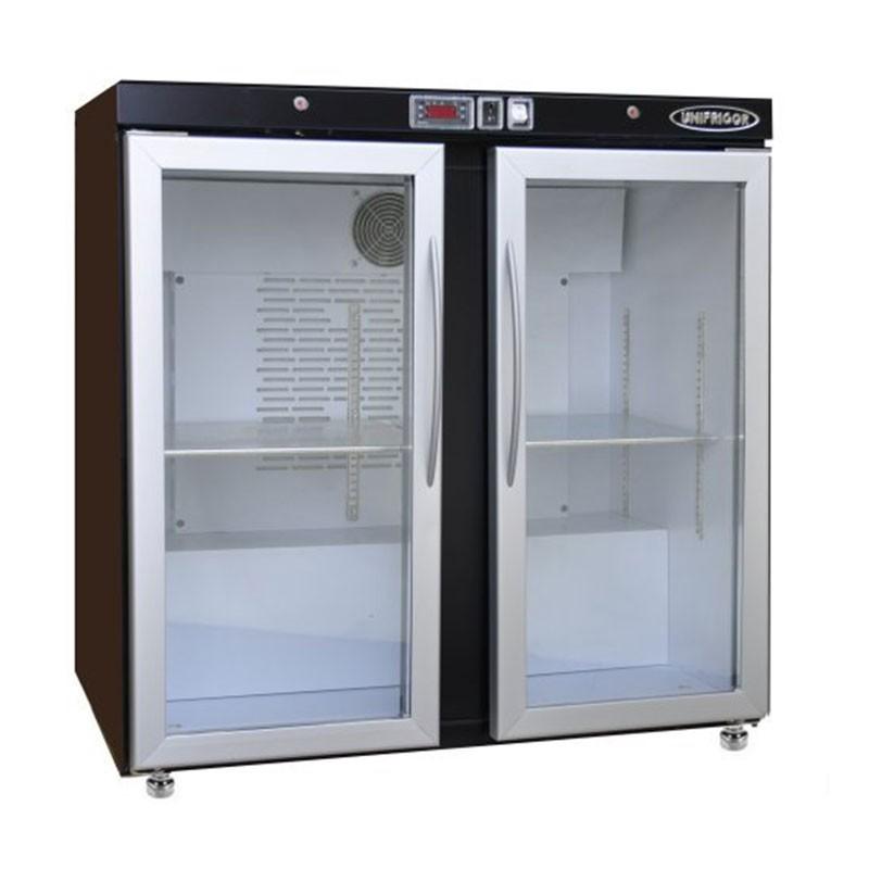 UNIFRIGOR - Arrière bar skinplate 190 L, 2 portes vitrées positives
