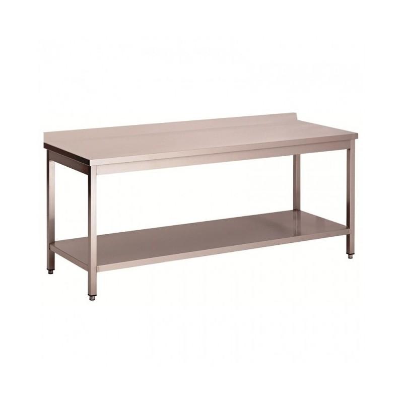 L2G - Tables inox adossées démontables avec étagère