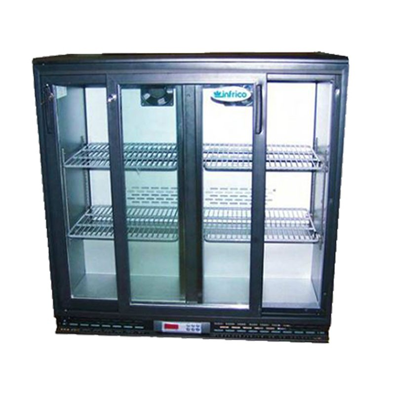 INFRICO - Arrière bar skinplate 220 L, 2 portes vitrées coulissantes