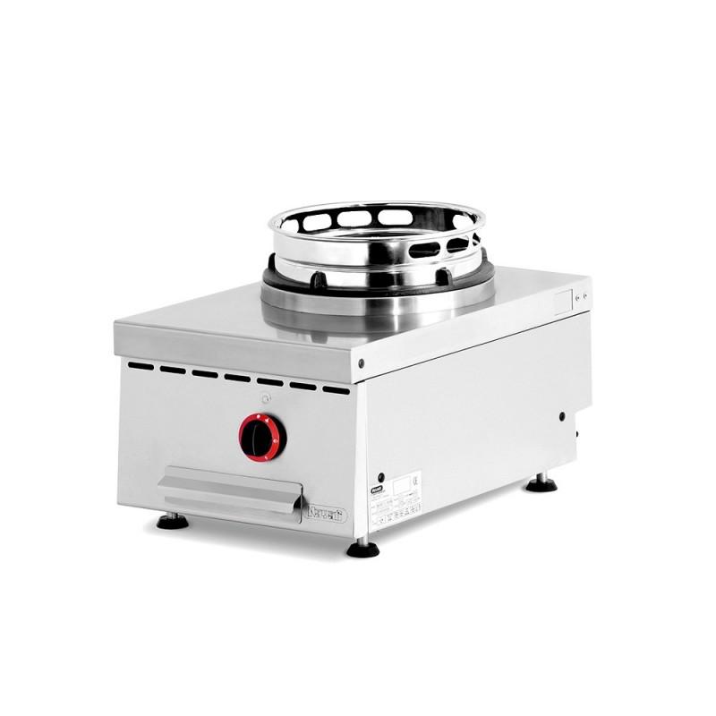 NAYATI - Wok gaz à poser, 1 brûleur avec support fonte et wok ring inox