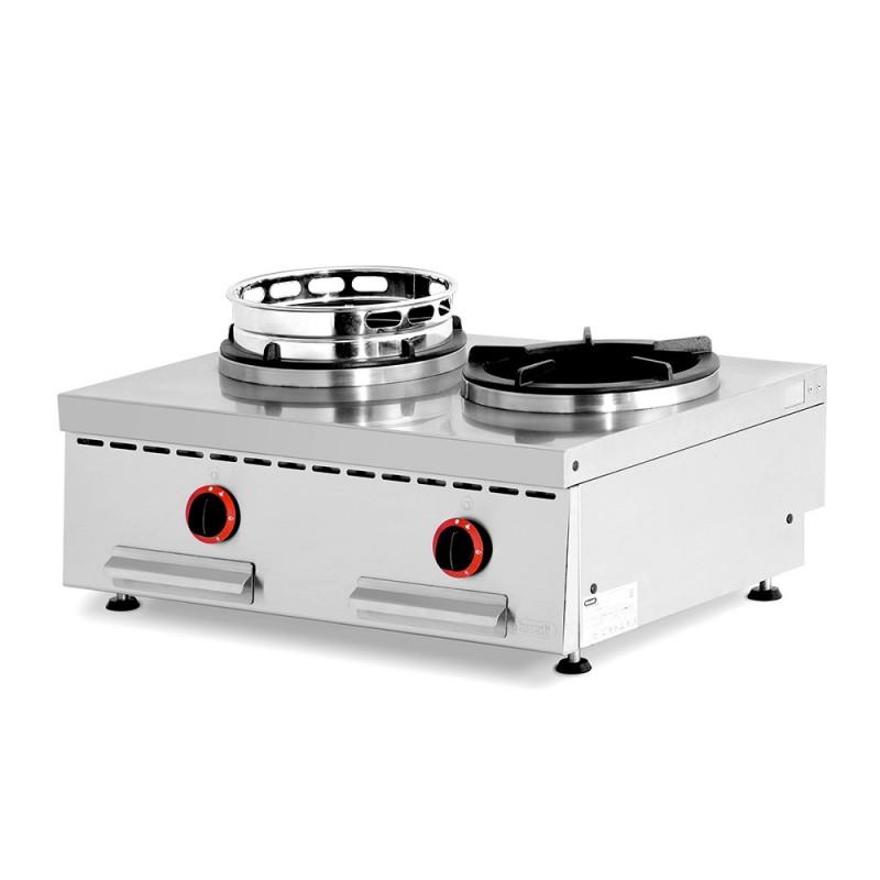 NAYATI - Wok gaz à poser, 2 brûleurs avec support fonte et wok ring inox
