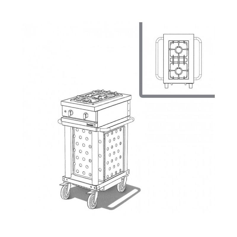 WESTAHL - Table de cuisson gaz 2 feux vifs, sur module, SANS couvercle