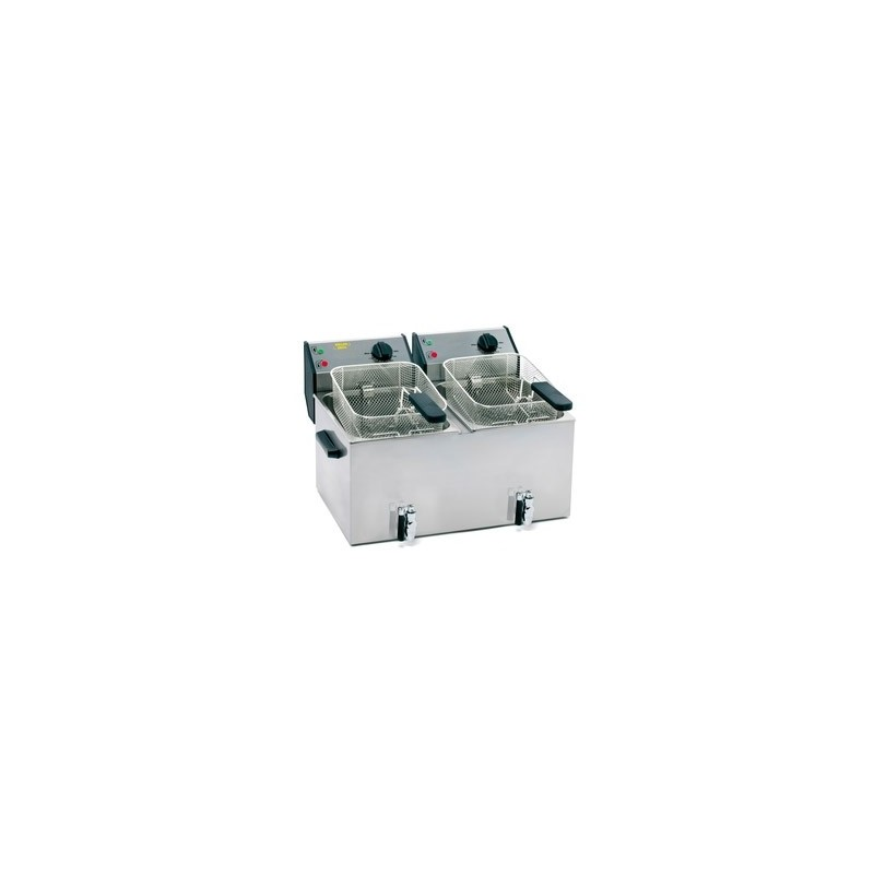 ROLLER GRILL - Friteuse double avec robinet de vidange - 2 x 8 L