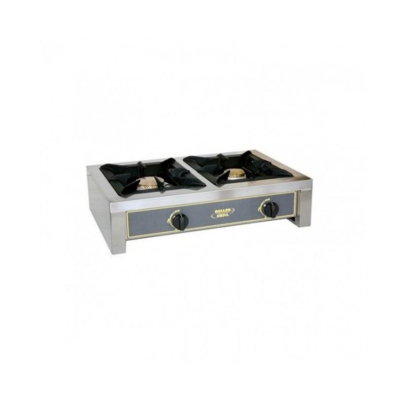 ROLLER GRILL - Réchaud gaz en inox 2 brûleurs - 7 + 5 kW