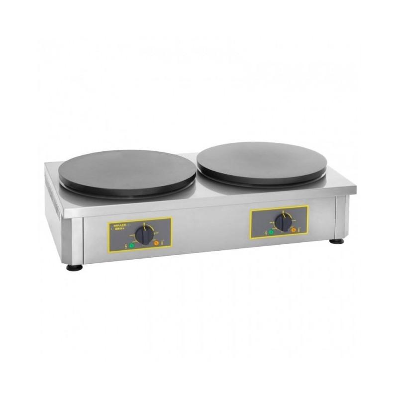 ROLLER GRILL - Crêpière double électrique, plaques en fonte émaillée Ø 400 mm