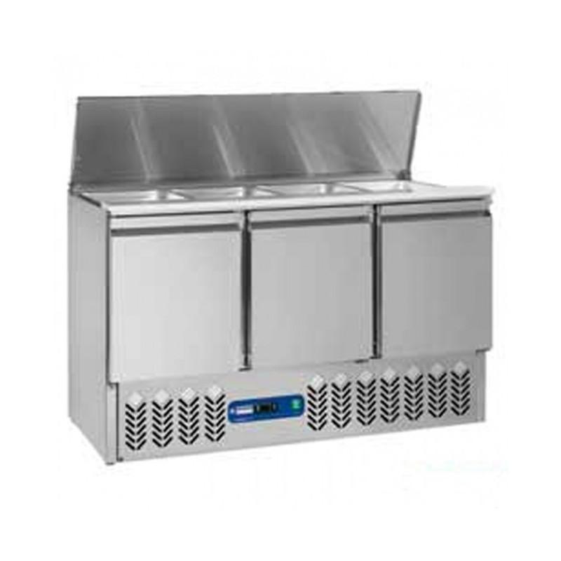 DIAMOND - Saladette réfrigérée 4 GN1/1 sur 3 Portes GN1/1 - 380 Litres
