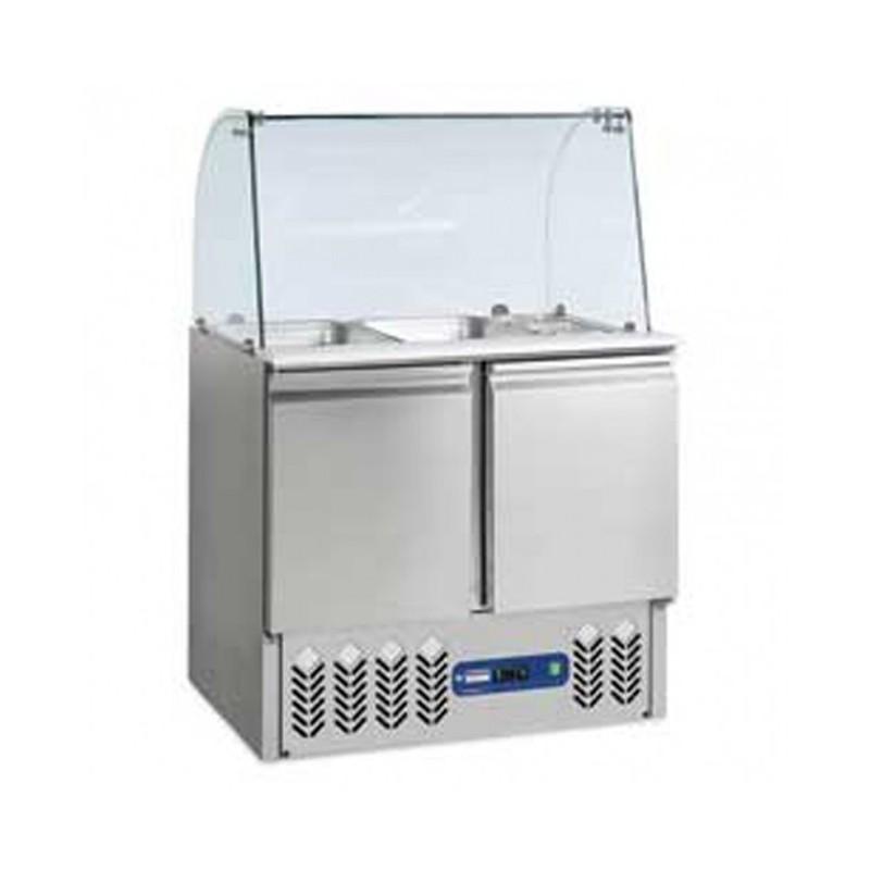 DIAMOND - Saladette réfrigérée 2GN1/1 + 3GN1/6 Vitré sur 2 Portes GN1/1 240L