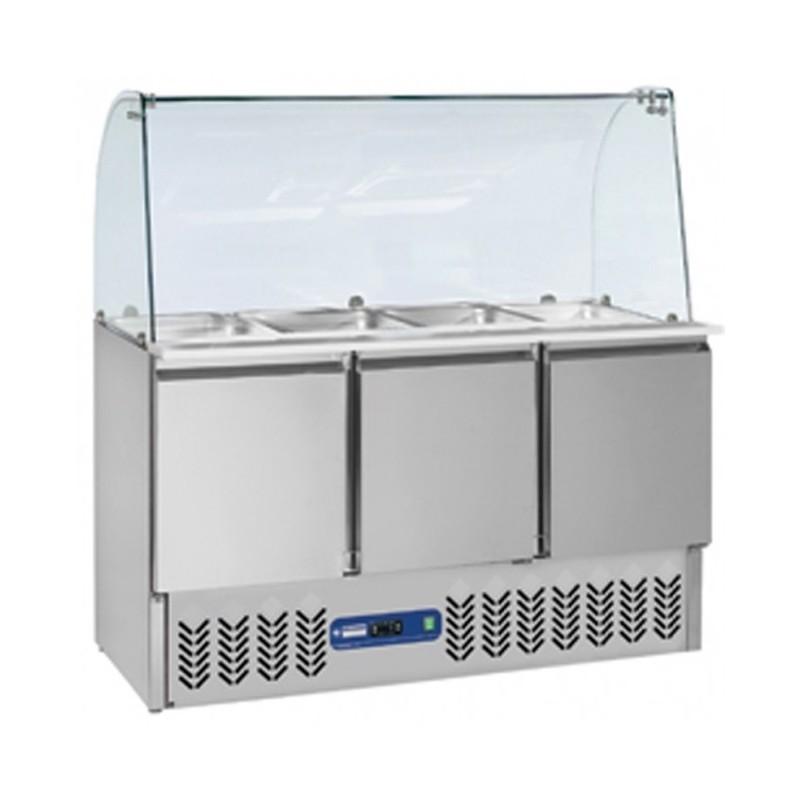 DIAMOND - Saladette réfrigérée 4 GN1/1 Vitré sur 3 Portes GN1/1 - 380 Litres