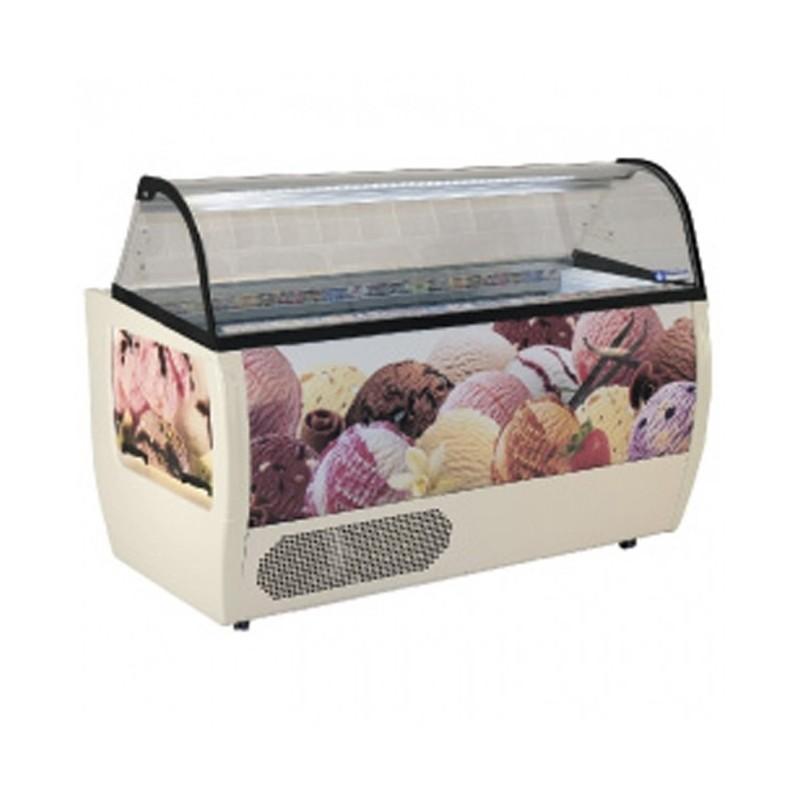 DIAMOND - Comptoir présentoir, crème glacée, 13 bacs 5 L avec réserve