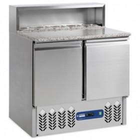 DIAMOND - Table à pizzas réfrigérée 2 portes GN 1/1 avec structure réfrigérée intégrée pour bacs gastro SR2/R6