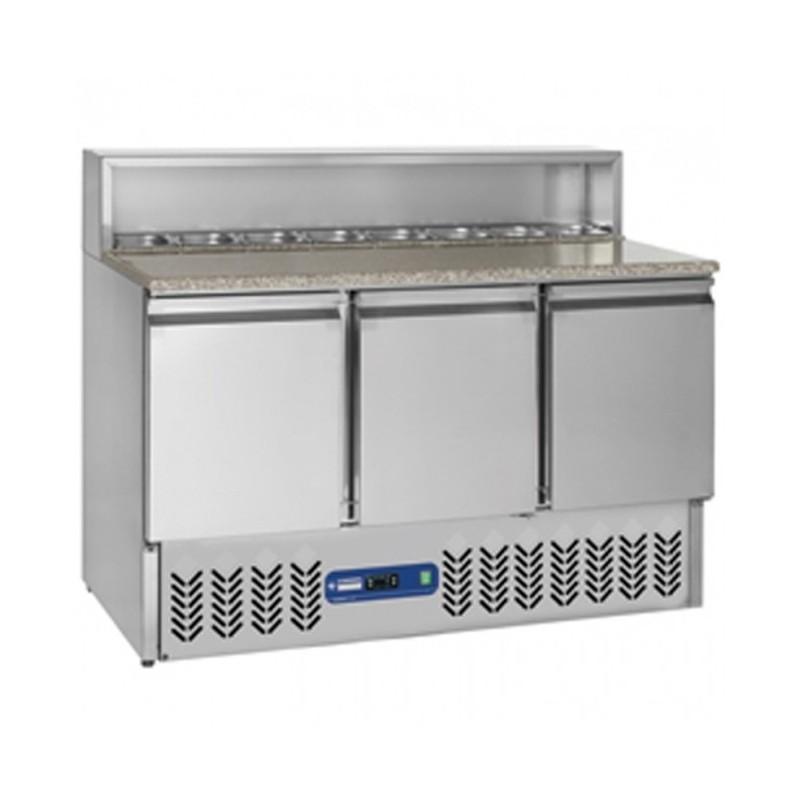 DIAMOND - Table réfrigérée-3 portes GN1/1-380 litres-dessus réfrigéré 8 x GN 1/6