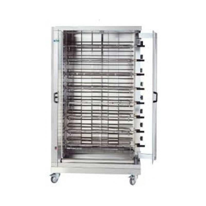 MCM - Rôtissoire électrique verticale 8 broches avec brûleurs 4,8 kW