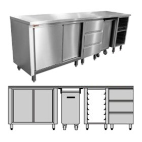 DIAMOND - Meuble pâtisserie modulable 600x400 mm, L. 1500 - 2500 mm