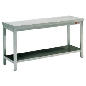 DIAMOND - Table de tavail centrale avec tablette inférieure, L. 1000 - 2000 mm