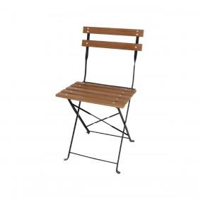 BOLERO - Chaise bistro pliable en lattes, effet bois