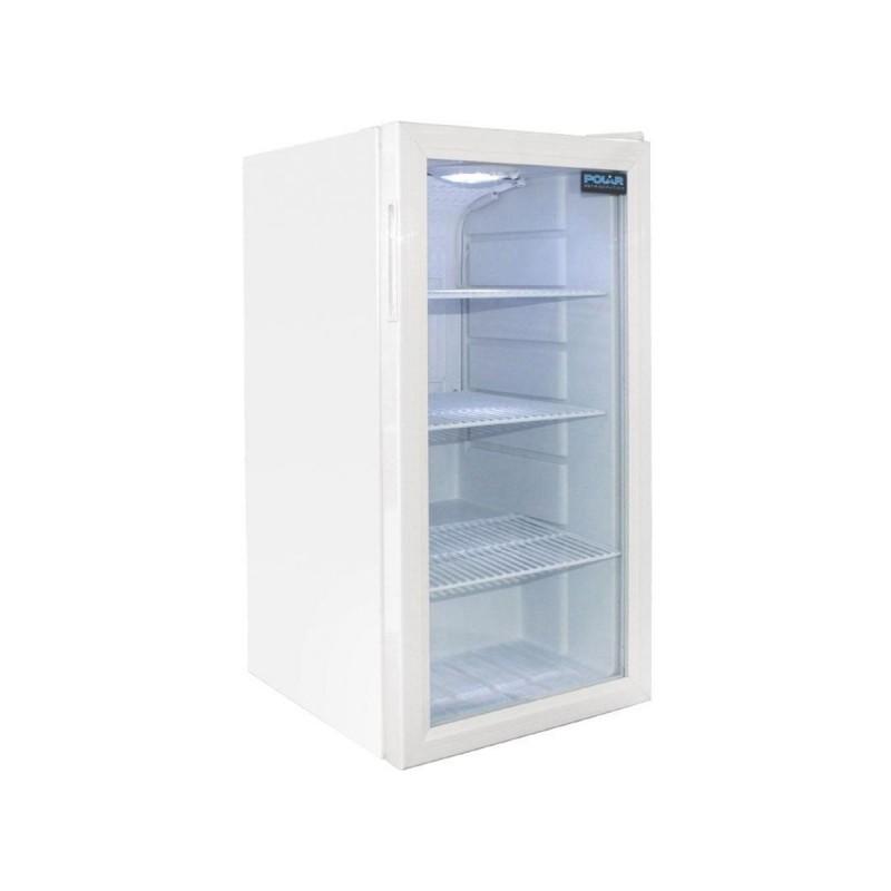 Meuble r frig r blanc avec une porte vitr e battante for Meuble avec porte vitree