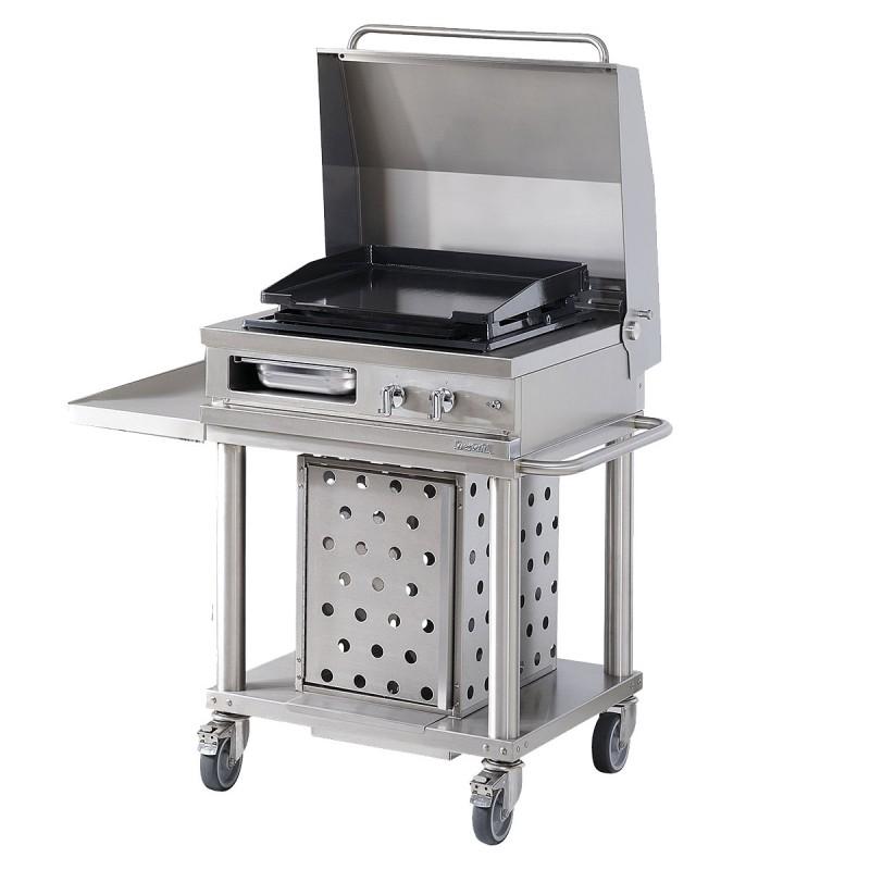 Barbecue plancha gaz couvercle relevable en acier westahl - Barbecue electrique sur pied avec couvercle ...