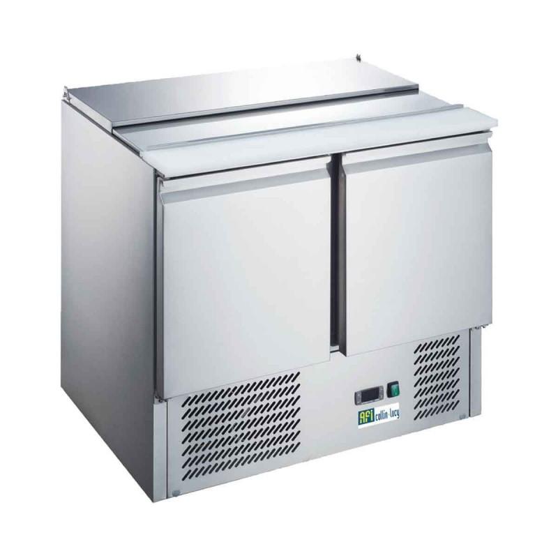 CHR-AVENUE - Saladette réfrigérée inox, 2 portes + couvercle télescopique