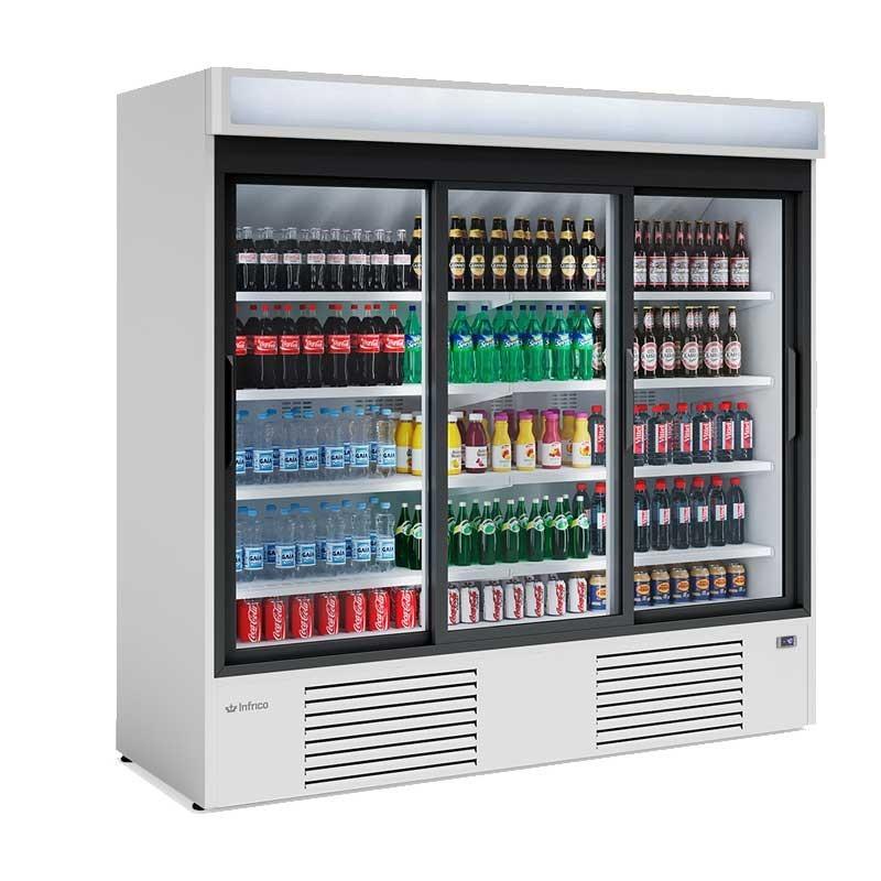 Armoire d'exposition réfrigérée 3 portes coulissantes, 2030 L,
