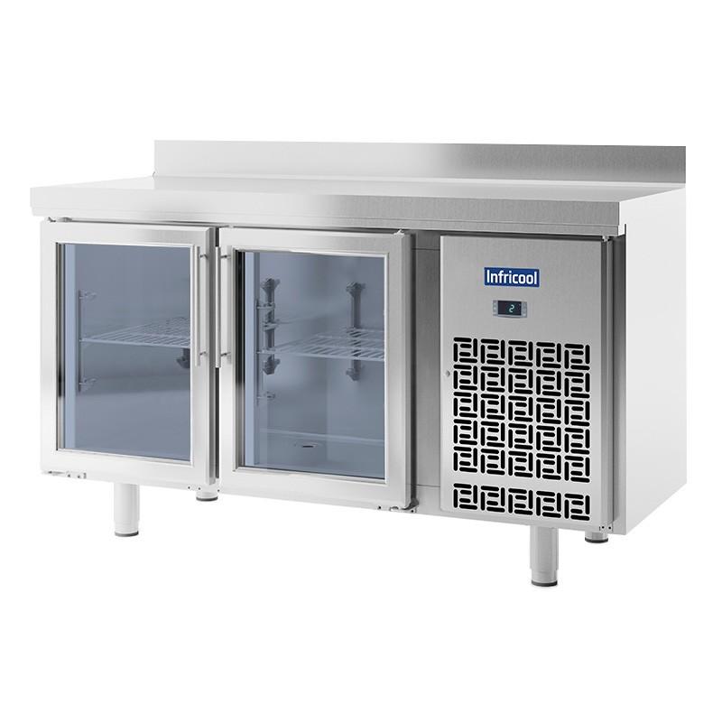 INFRICOOL - Table réfrigérée 2 portes vitrées GN 1/1 - Prof. 700 mm