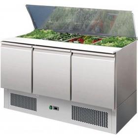 L2G - Saladette réfrigérée inox, 3 portes + couvercle télescopique