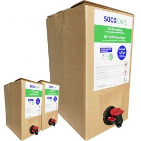 SOCOSAFE - Gel hydroalcoolique Bag in Box de 5L - carton de 3 BIB de 5L