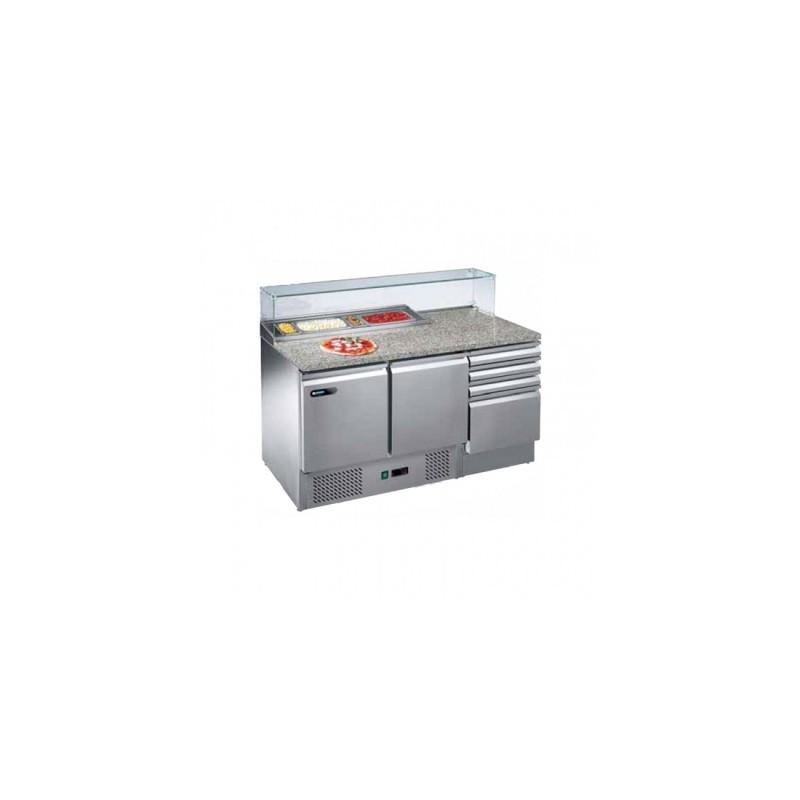 AFINOX - Table de préparation, dessus granit, console GN et tiroirs