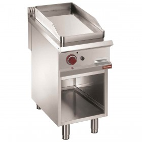 DIAMOND - Plaque de cuisson chromée lisse gaz, module 1/2 ou 1/1, armoire ouverte