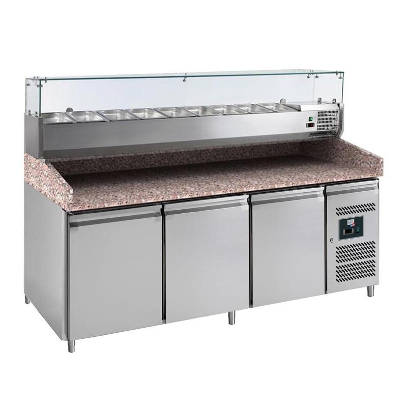 L2G - Meuble réfrigéré à pizzas 3 portes, dessus saladette 9 GN 1/3 PZ2600TN-VRX380