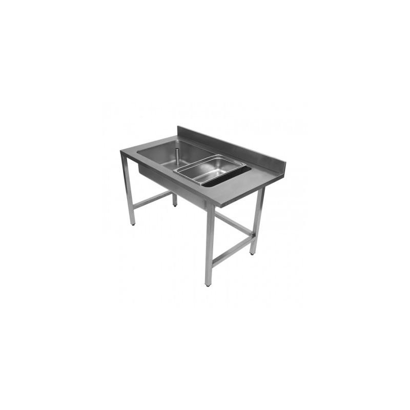L2G - Table de déboîtage inox adossée de largeurs différentes
