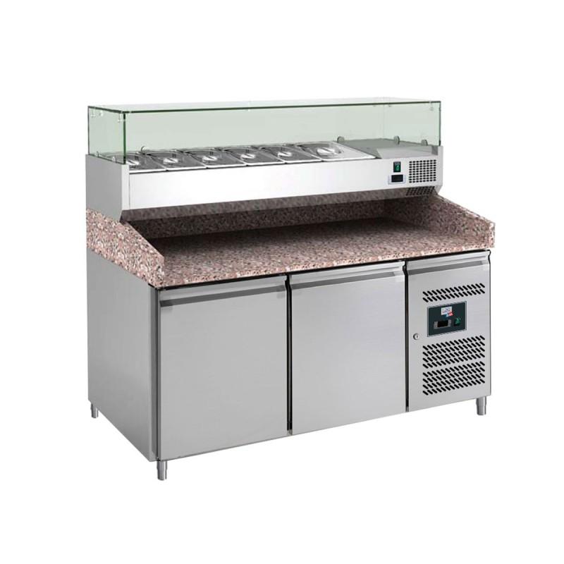L2G - Meuble réfrigéré à pizzas 2 portes, dessus saladette 6 GN PZ2600TN-VRX380