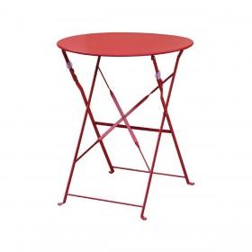 BOLERO - Table de terrasse ronde en acier - Gris