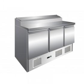 Table réfrigérée de préparation inox, 3 portes GN 1/1