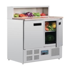 POLAR - Comptoir de préparation réfrigéré à pizzas - dessus marbre - G603