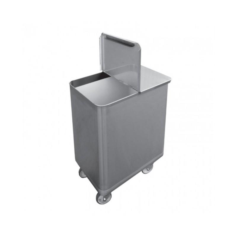 L2G - Bac sel / farine inox avec couvercle - 130 Litres
