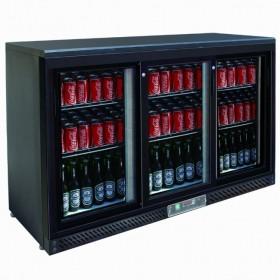 CHR-AVENUE - Arrière bar réfrigéré noir 335 L 3 portes coulissantes