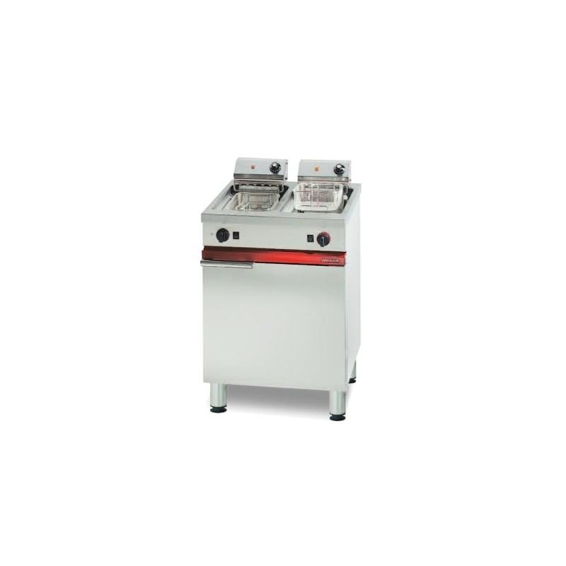 Friteuse électrique sur coffre avec vidange - 2 x 6 L - 2 x 4.5 kW ou 2 x 6 kW professionnelle