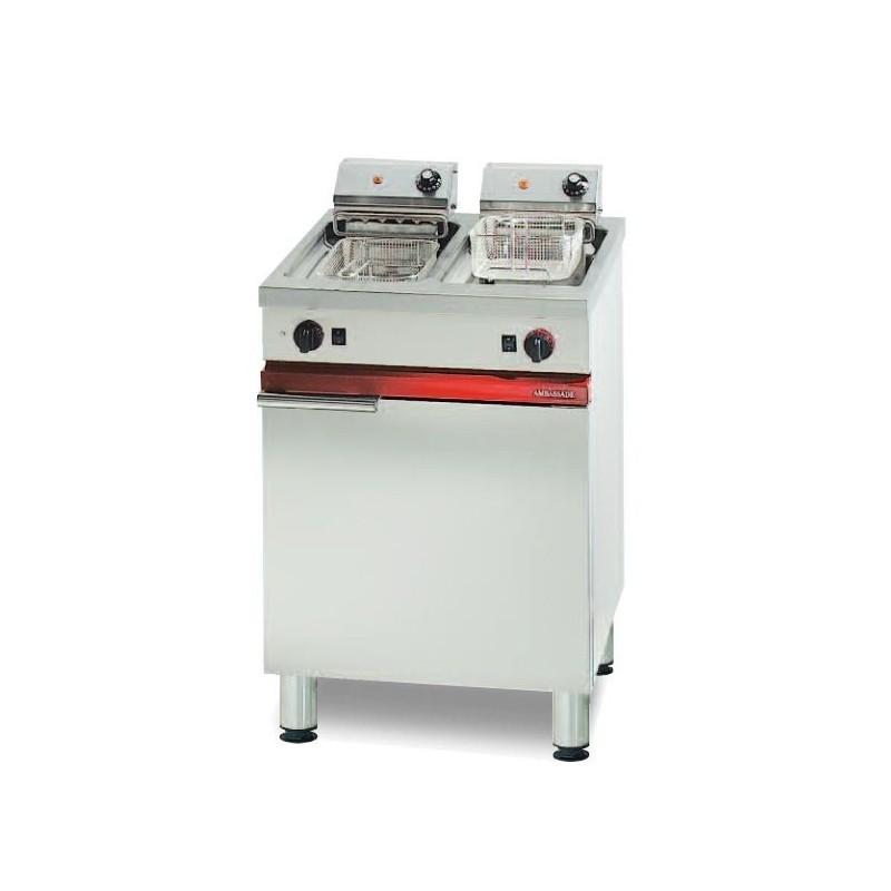 Friteuse électrique sur coffre avec vidange - 2 x 8 L - 2 x 7.5 kW